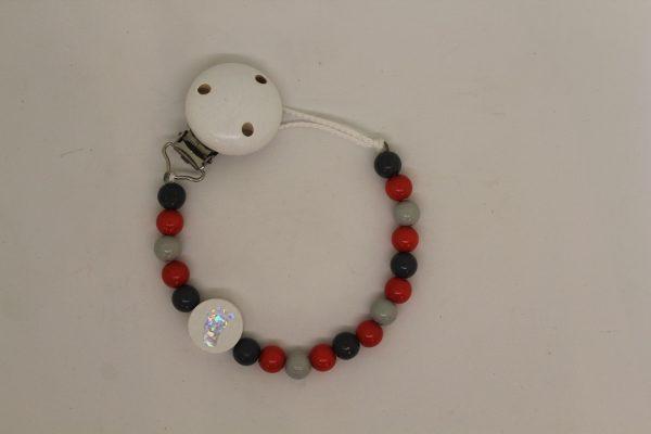 Schnullerkette grau-rot 1