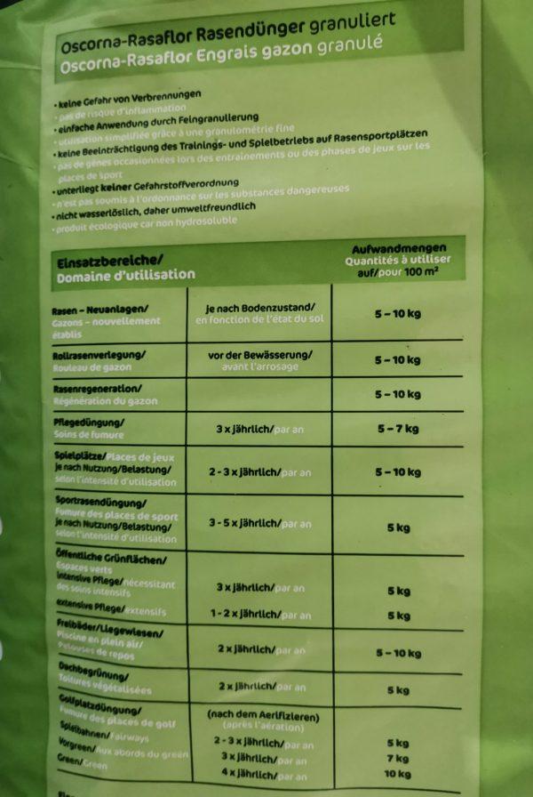 Oscorna Rasaflor Rasendünger Granulat 2