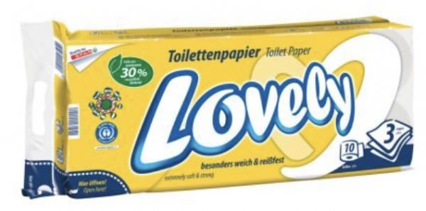 Lovely Toilettenpapier gelb / 3-lagig 10 Rollen