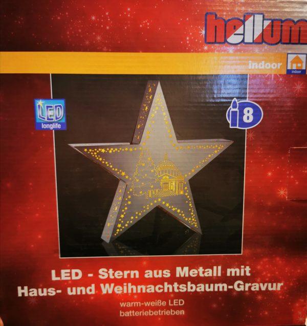 LED-Stern aus Metall mit Haus-und Weihnachtsbaum Gravur 1