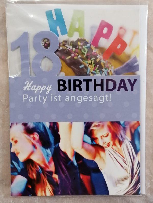 """Grußkarte """"18.Geburtstag"""" blau 1"""