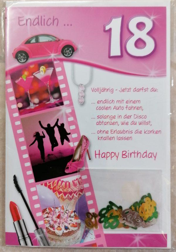 """Grußkarte """"18.Geburtstag"""" rosa 1"""