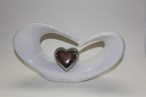 Herz weiß/silber liegend 1