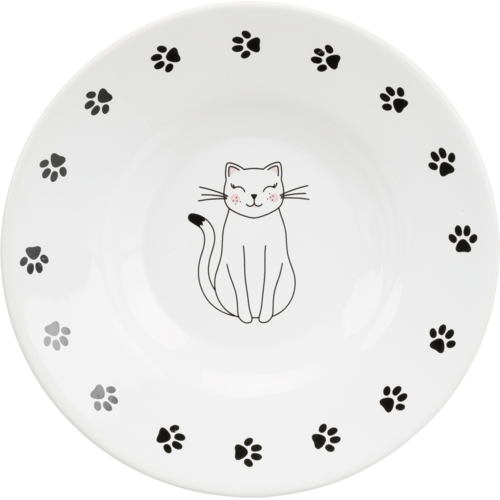Keramiknapf flach Katze 1