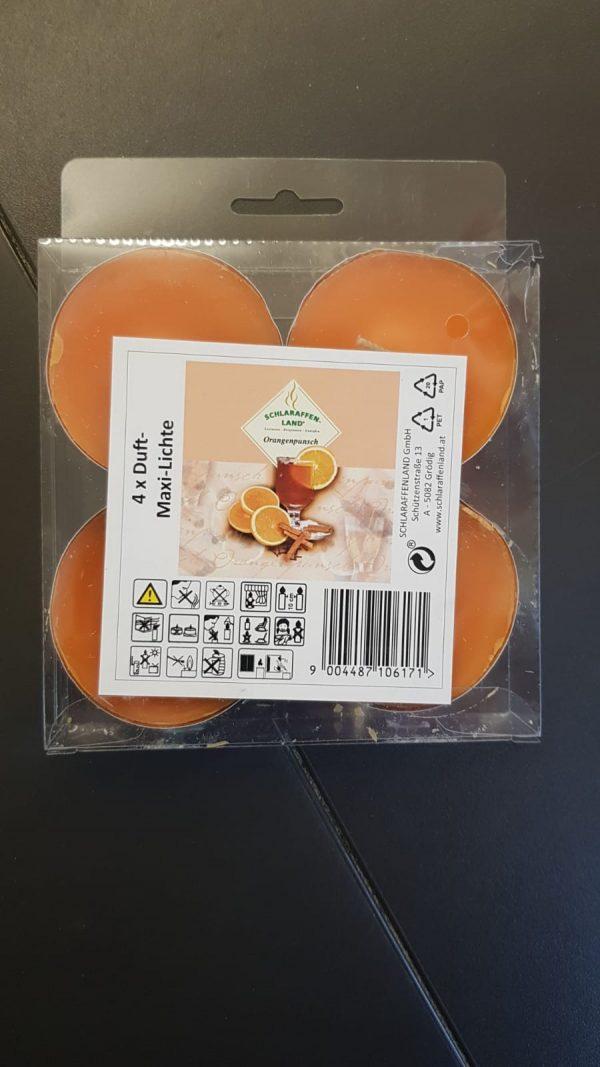 4er Duftteelichter Orangenpunsch 1