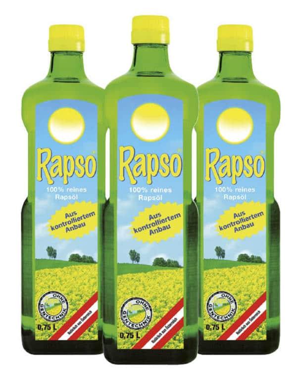 Rapso 100% reines Rapsöl | 3 Flaschen 1