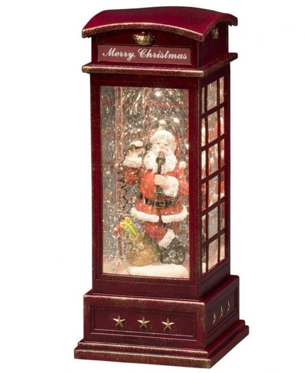 LED-Dekoleuchte Telefonzelle m. Weihnachtsmann 1